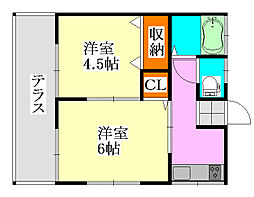 須藤荘[101号室]の間取り