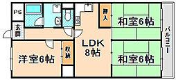 兵庫県伊丹市昆陽東5丁目の賃貸マンションの間取り