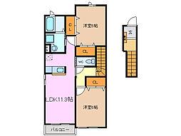 三重県亀山市天神2丁目の賃貸アパートの間取り
