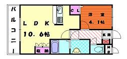 福岡県福岡市東区唐原5丁目の賃貸アパートの間取り
