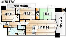 福岡県北九州市八幡西区折尾5丁目の賃貸マンションの間取り