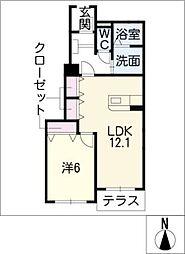 ユーベルB棟[1階]の間取り