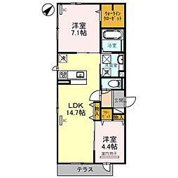 (仮)D-room北区百舌鳥本町 1階2LDKの間取り