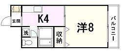 広島県広島市東区矢賀新町1丁目の賃貸マンションの間取り