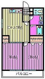 埼玉県八潮市中央4丁目の賃貸アパートの間取り