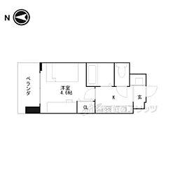京都市営烏丸線 くいな橋駅 徒歩5分の賃貸マンション 3階ワンルームの間取り
