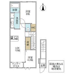 (仮)阿見町よしわら1丁目新築アパート 2階2LDKの間取り
