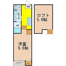 愛知県名古屋市西区名塚町の賃貸アパートの間取り