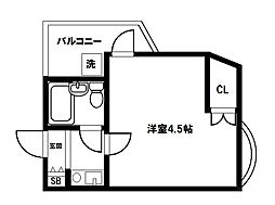 大阪府大阪市東淀川区豊新3丁目の賃貸マンションの間取り