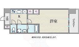 Osaka Metro御堂筋線 淀屋橋駅 徒歩7分の賃貸マンション 9階1Kの間取り