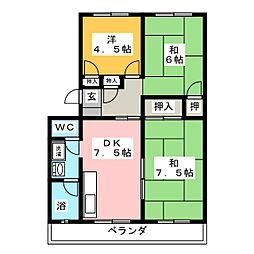 野村ハイツ[1階]の間取り