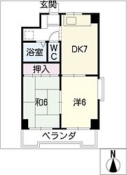 カーサ永[2階]の間取り