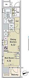 東京メトロ日比谷線 八丁堀駅 徒歩5分の賃貸マンション 6階1DKの間取り