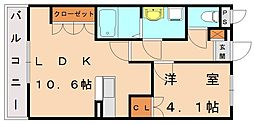 カ−サ・ヴィバ−チェ[2階]の間取り