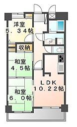 広島県福山市入船町2丁目の賃貸マンションの間取り