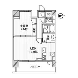 M白金台 9階1LDKの間取り