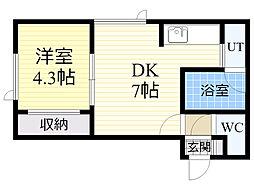北海道札幌市中央区北6条西21丁目の賃貸アパートの間取り