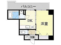 ソルレヴェンテ梅田 8階1DKの間取り