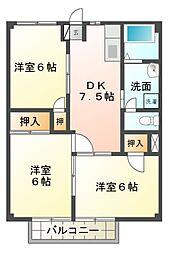 コンシェル宮崎II[1階]の間取り