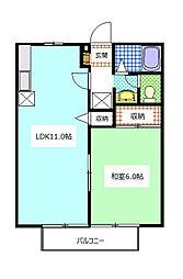 静岡県袋井市高尾の賃貸アパートの間取り