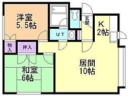 第5沼田マンション 2階2LDKの間取り