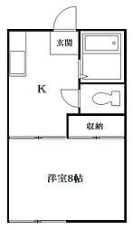 アパートメント赤池[2階]の間取り