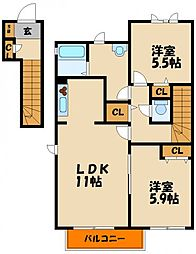 シャーメゾン 三木[2階]の間取り