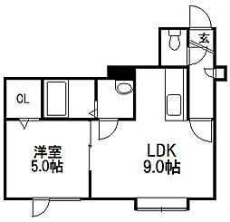 北海道札幌市手稲区星置三条1丁目の賃貸アパートの間取り