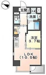 岡山電気軌道清輝橋線 清輝橋駅 徒歩5分の賃貸マンション 4階1LDKの間取り