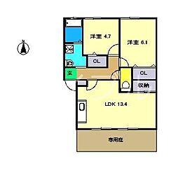 フォブールネオ B棟[1階]の間取り