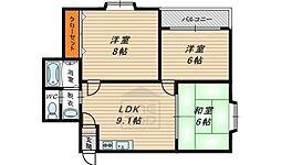クィーンライフIMAZU 8階3DKの間取り