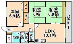 兵庫県伊丹市西野3丁目の賃貸マンションの間取り