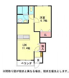 愛知県一宮市小信中島字西九反の賃貸アパートの間取り