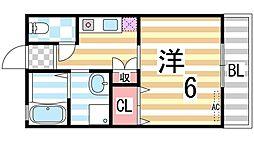 コージィーコート住道[201号室]の間取り