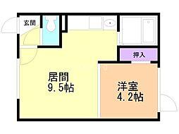 Mimosa桜町B 2階1DKの間取り
