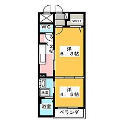 リバーサイド桜坂[2階]の間取り