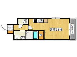 エヴァステージ神戸六甲(分譲) 3階ワンルームの間取り