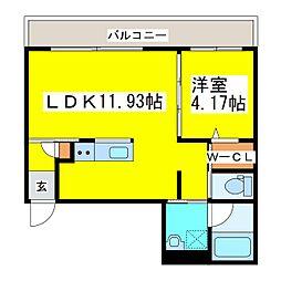 札幌市営東豊線 東区役所前駅 徒歩12分の賃貸マンション 2階1LDKの間取り