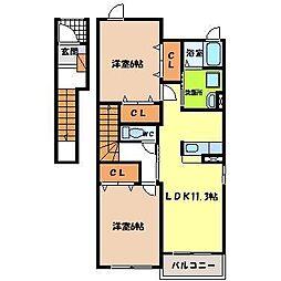 ドゥ・プルミAle A[2階]の間取り