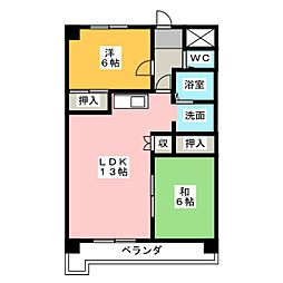 愛知県名古屋市名東区新宿1の賃貸マンションの間取り
