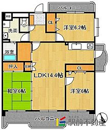 JR鹿児島本線 九産大前駅 徒歩16分の賃貸マンション 2階3LDKの間取り