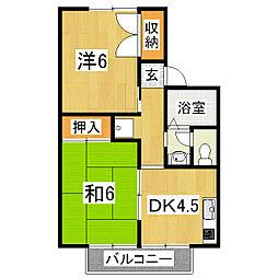 京都府京都市山科区西野後藤の賃貸アパートの間取り