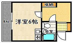 滋賀県大津市松原町の賃貸マンションの間取り