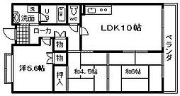 大阪府岸和田市土生町2丁目の賃貸マンションの間取り