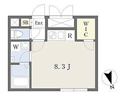 東急東横線 学芸大学駅 徒歩6分の賃貸マンション 3階ワンルームの間取り