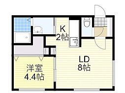 札幌市営南北線 北18条駅 徒歩11分の賃貸マンション 1階1LDKの間取り