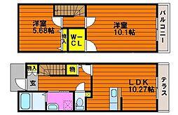 JR赤穂線 大多羅駅 徒歩16分の賃貸タウンハウス 1階2LDKの間取り