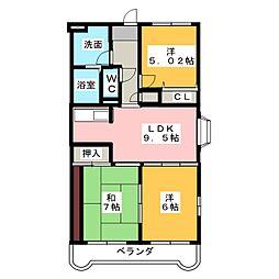 エスペランサ水戸島[3階]の間取り