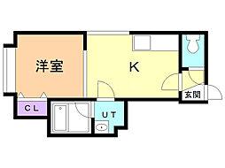 ウェルカム澄川 2階1DKの間取り