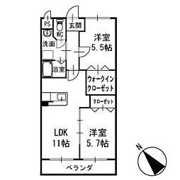 リュミエール中園2 2階[202号室]の間取り